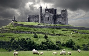 castle, ruins, church, landscape, Castle