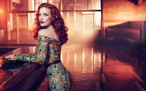 Jessica Chastain, actress, red lipstick, redhead, dress, girl