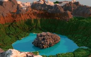 video games, tilt shift, landscape, Minecraft