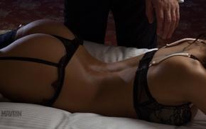 Aleksandr Mavrin, in bed, lingerie, thong, Viki Odintcova