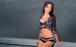 lingerie, long hair, open shirt, model, black lingerie, Melanie Iglesias