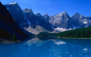 water, trees, landscape, nature, Banff National Park, mountain