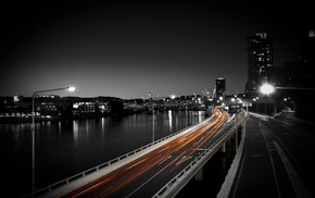 road, street, selective coloring, light trails