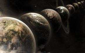 planetary rings, space art, artwork, digital art, space, planet