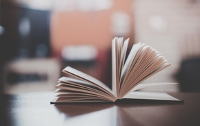 depth of field, books, vintage, blurred