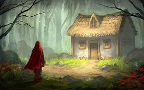 painting, digital art, forest, stones, Little Red Riding Hood, house