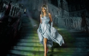 Cinderella, fantasy art, dress, staircase, dark, men