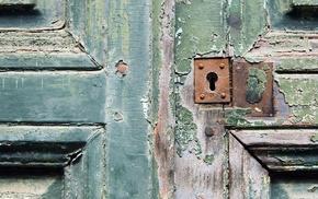 door, wooden surface, rust, screw, lock, wood