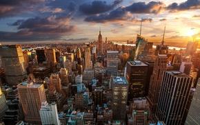 USA, cityscape, skyscraper, city, clouds, sunset