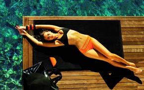 lying down, bikini, girl, brunette, Irina Shayk, model
