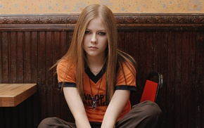 blonde, girl, T, shirt, blue eyes, Avril Lavigne