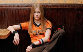 Avril Lavigne, blonde, T, shirt, blue eyes, girl