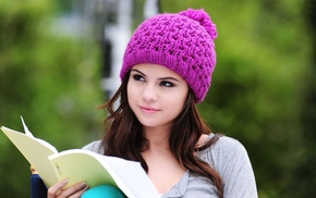 funny hats, Selena Gomez, woolly hat, girl, brunette