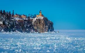 USA, cliff, rock, snow, lake, Minnesota
