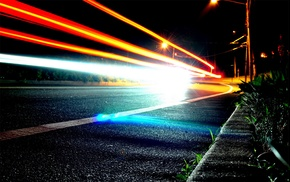 light trails, road, street light, night