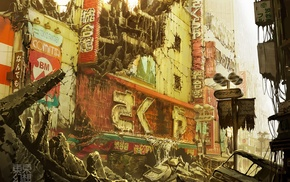 signs, abandoned, artwork, broken, apocalyptic, Tokyo