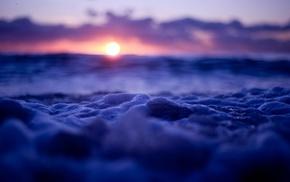 waves, tilt shift, sunset, bubbles, nature, sea