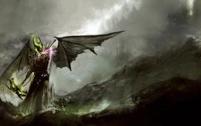 death, fantasy art, mist, sword, destruction, DeviantArt
