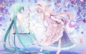 Vocaloid, Hatsune Miku, Megurine Luka, high heels, wedding dress, flowers