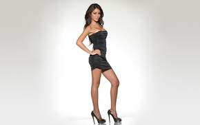 high heels, Melanie Iglesias, black dress, simple background, model, brunette