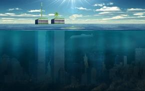 split view, sunken cities, water
