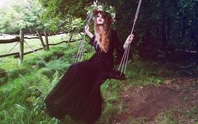 swings, girl outdoors, wreaths, girl