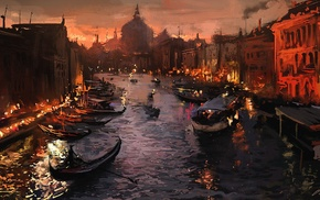 gondolas, artwork, painting, river, Italy, Venice