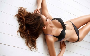 black lingerie, long hair, panties, auburn hair, lying down, black bras