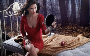 Zaira Nara, model, brunette, legs, bed, apples