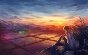 sunset, landscape, anime boys, rice paddy, nature, artwork