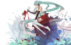 Hatsune Miku, microphones, headphones, Vocaloid