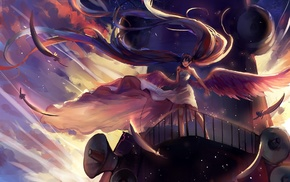 microphones, dress, wings, Vocaloid, ship, feathers