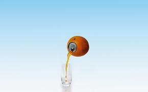 juice, can, glass, orange fruit, digital art, minimalism