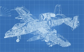 airplane, engineering, A, 10 Thunderbolt, blueprints, technology