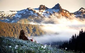 red dress, snow, field, long hair, legs, nature