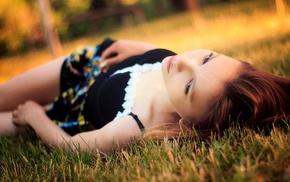 depth of field, brown eyes, long hair, girl, field, girl outdoors