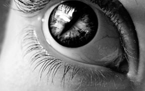 eyelashes, eyes, girl, monochrome