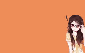 simple background, blushing, anime girls, glasses