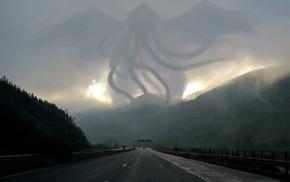 tornado, road, nature, fantasy art