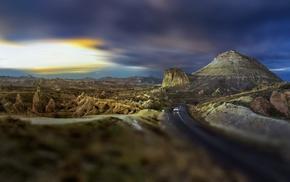 tilt shift, landscape, nature, road, hill