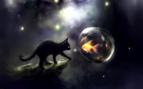 fantasy art, Apofiss, kittens, goldfish