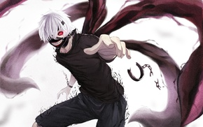 anime boys, Tokyo Ghoul, red eyes, mask, Kaneki Ken, white hair