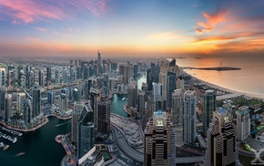 city, United Arab Emirates, Dubai, sunset, skyscraper, cityscape