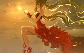 red dress, long hair, Vocaloid, twintails, flower in hair, sky