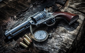weapon, clocks, revolver