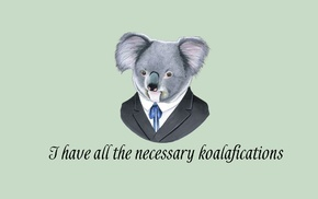 suits, simple background, minimalism, koalas, humor, quote