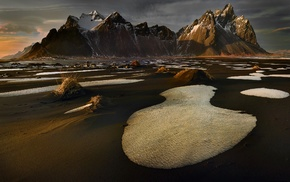 ice, landscape, water, clouds, nature, mountain