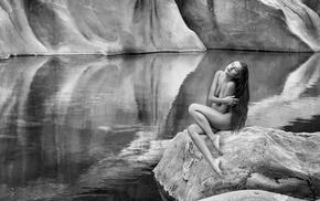 rock, monochrome, girl, nature, nude, brunette