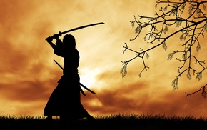 sword, Sun, grass, clouds, Japanese clothes, samurai