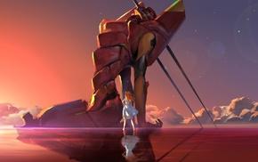 clouds, stars, Asuka Langley Soryu, EVA Unit 02, anime, Neon Genesis Evangelion